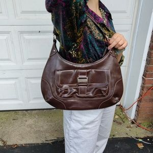 Nine West Leather Brown Stitched Clip Purse